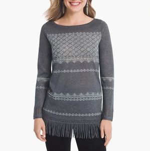 WHBM Embellished Gray Silver Fringe Sweater Top